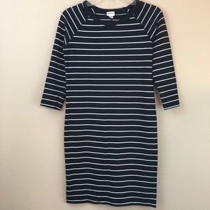 Merona Black & White Striped 3/4 Sleeve Dress
